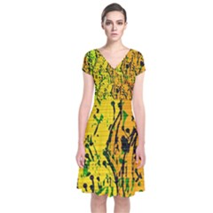 Gentle Yellow Abstract Art Short Sleeve Front Wrap Dress by Valentinaart