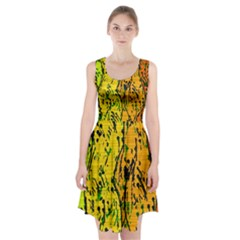 Gentle Yellow Abstract Art Racerback Midi Dress by Valentinaart