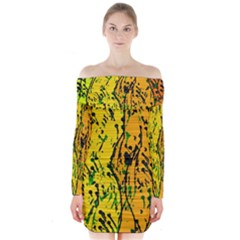 Gentle Yellow Abstract Art Long Sleeve Off Shoulder Dress by Valentinaart
