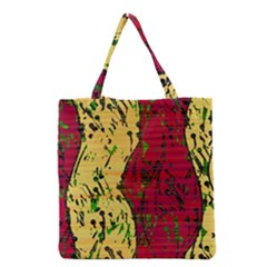 Maroon And Ocher Abstract Art Grocery Tote Bag by Valentinaart