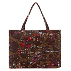 Brown Confusion Medium Zipper Tote Bag by Valentinaart