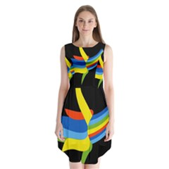 Abstraction Banana Sleeveless Chiffon Dress