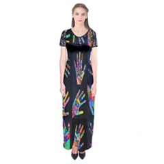 Art With Your Hand Short Sleeve Maxi Dress