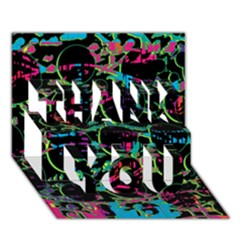 Graffiti Style Design Thank You 3d Greeting Card (7x5) by Valentinaart