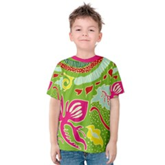 Green Organic Abstract Kids  Cotton Tee by DanaeStudio