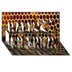 Bees On A Comb Happy Birthday 3d Greeting Card (8x4) by AnjaniArt