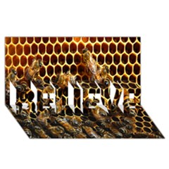 Bees On A Comb Believe 3d Greeting Card (8x4)