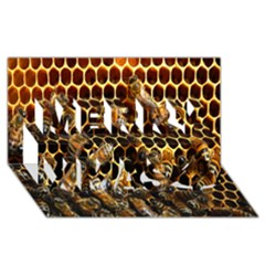 Bees On A Comb Merry Xmas 3d Greeting Card (8x4)