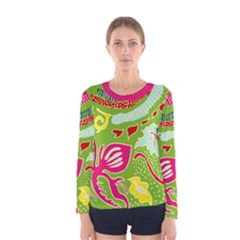 Green Organic Abstract Women s Long Sleeve Tee by DanaeStudio
