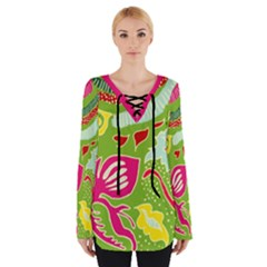 Green Organic Abstract Women s Tie Up Tee by DanaeStudio