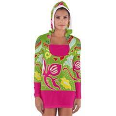 Green Organic Abstract Women s Long Sleeve Hooded T Shirt by DanaeStudio