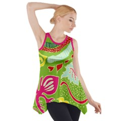 Green Organic Abstract Side Drop Tank Tunic by DanaeStudio