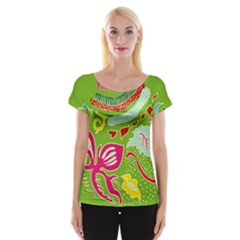Green Organic Abstract Women s Cap Sleeve Top by DanaeStudio