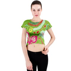 Green Organic Abstract Crew Neck Crop Top by DanaeStudio