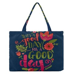 C mon Get Happy With A Bright Floral Themed Print Medium Zipper Tote Bag by AnjaniArt