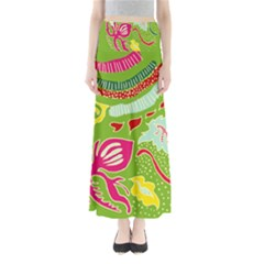 Green Organic Abstract Women s Maxi Skirt by DanaeStudio