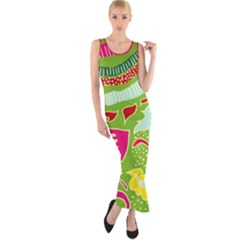 Green Organic Abstract Fitted Maxi Dress by DanaeStudio