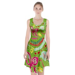 Green Organic Abstract Racerback Midi Dress by DanaeStudio