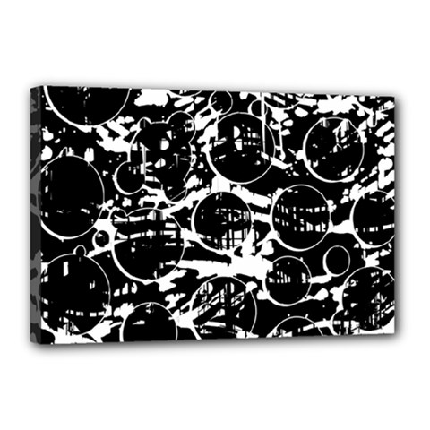 Black And White Confusion Canvas 18  X 12  by Valentinaart