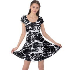 Black And White Confusion Cap Sleeve Dresses by Valentinaart