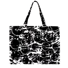 Black And White Confusion Zipper Large Tote Bag by Valentinaart