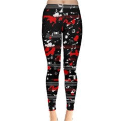 Red Symphony Leggings  by Valentinaart