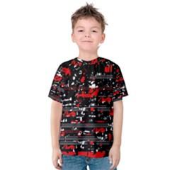 Red Symphony Kids  Cotton Tee by Valentinaart