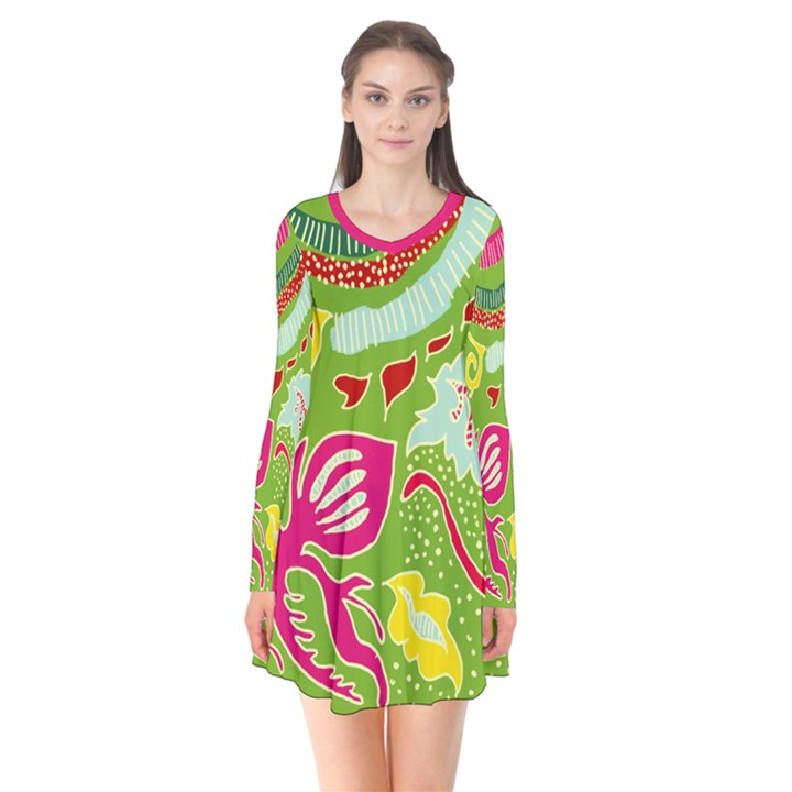 Green Organic Abstract Long Sleeve V-neck Flare Dress