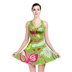 Green Organic Abstract Reversible Skater Dress by DanaeStudio