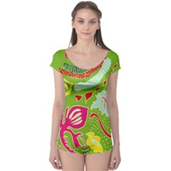 Green Organic Abstract Boyleg Leotard  by DanaeStudio