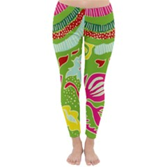 Green Organic Abstract Winter Leggings  by DanaeStudio