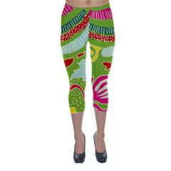 Green Organic Abstract Capri Winter Leggings  by DanaeStudio