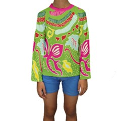 Green Organic Abstract Kids  Long Sleeve Swimwear by DanaeStudio
