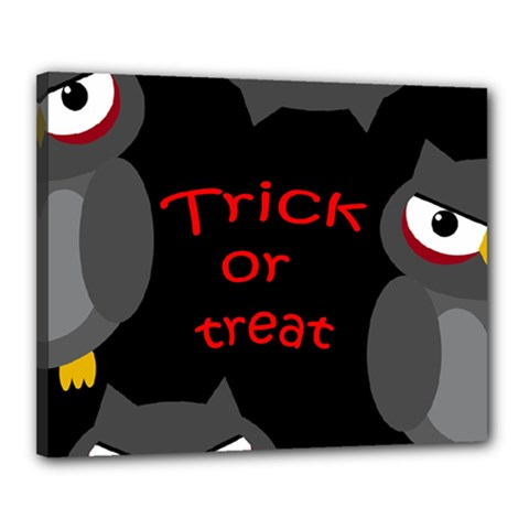 Trick Or Treat   Owls Canvas 20  X 16  by Valentinaart