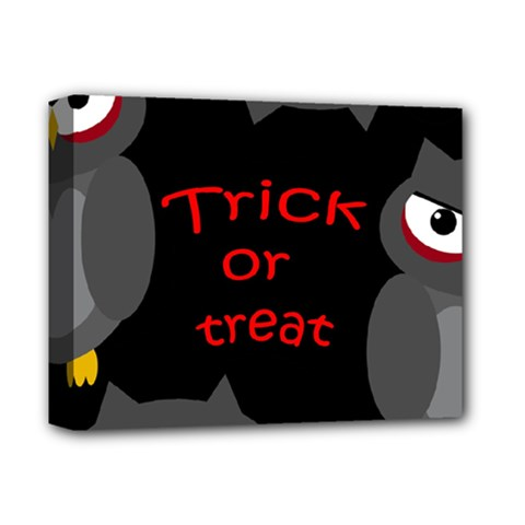 Trick Or Treat   Owls Deluxe Canvas 14  X 11  by Valentinaart
