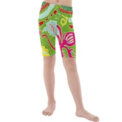 Green Organic Abstract Kids  Mid Length Swim Shorts by DanaeStudio