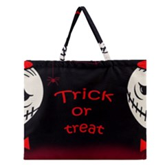 Trick Or Treat 2 Zipper Large Tote Bag by Valentinaart