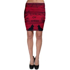 Trick Or Treat   Black Cat Bodycon Skirt by Valentinaart