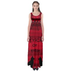 Trick Or Treat - Black Cat Empire Waist Maxi Dress by Valentinaart