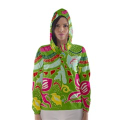 Green Organic Abstract Hooded Wind Breaker (women) by DanaeStudio