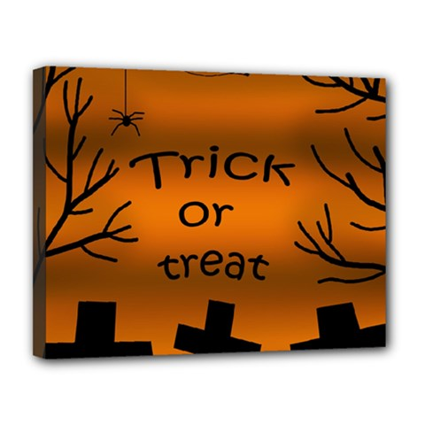 Trick Or Treat   Cemetery  Canvas 14  X 11  by Valentinaart