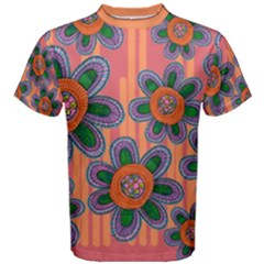 Colorful Floral Dream Men s Cotton Tee by DanaeStudio