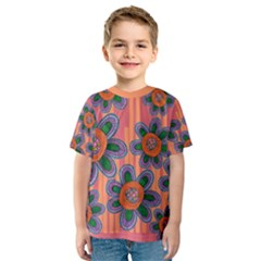 Colorful Floral Dream Kids  Sport Mesh Tee