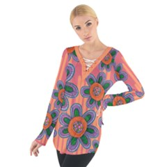 Colorful Floral Dream Women s Tie Up Tee
