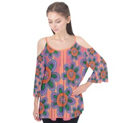 Colorful Floral Dream Flutter Sleeve Tee