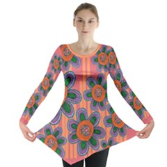 Colorful Floral Dream Long Sleeve Tunic