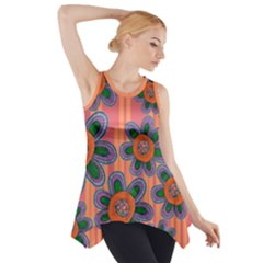 Colorful Floral Dream Side Drop Tank Tunic