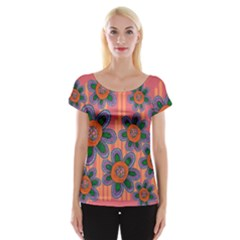 Colorful Floral Dream Women s Cap Sleeve Top