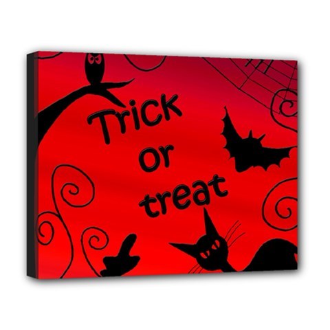 Trick Or Treat   Halloween Landscape Deluxe Canvas 20  X 16   by Valentinaart