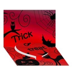 Trick Or Treat   Halloween Landscape Heart Bottom 3d Greeting Card (7x5) by Valentinaart